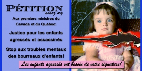 Premiers ministres du Canada et du Québec: Justice pour les enfants agressés et assassinés
