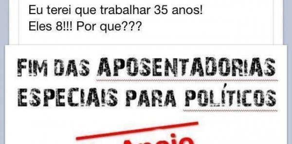 Resultado de imagem para A todo povo que se diz brasileiro: Acabar com a aposentadoria em 8 anos para políticos