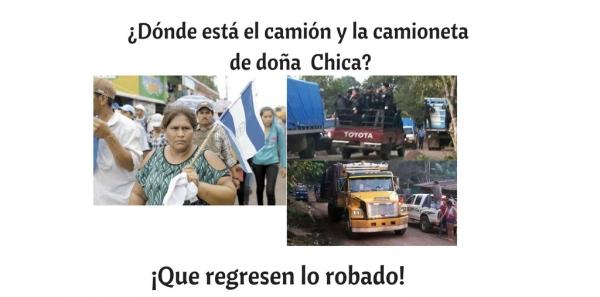 Aminta Granera, Jefa de la Policía Nacional de Nicaragua.: Que le entreguen sus vehículos,  detengan el hostigamiento policial.