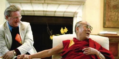 Xi Jinping, President of China have tea with Tenzin Gyatso the Fourteenth Dalai Lama of Tibet.
