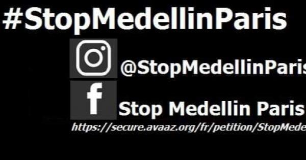 Fermez/Cierren: Medellin Paris. 6 avenue Marceau 75008 #StopMedellinParis