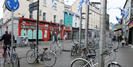 Galway City Council, Minister Paschal Donohoe, Dept. of Transport: More, not less, free public bike stands in Galway.