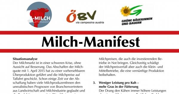 An die österreichische Gesellschaft: Neuausrichtung der Milchproduktion in Österreich notwendig!