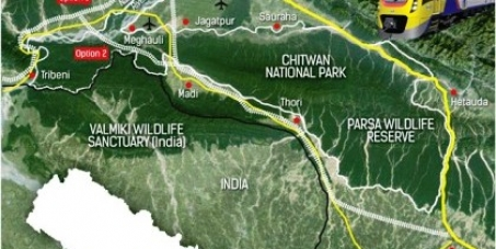Stop building railways inside Chitwan National Park: Follow the east west roadways instead