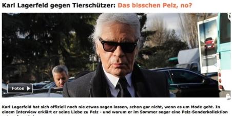 Karl Lagerfeld: STOPP neue Kollektion mit Echtpelz !!