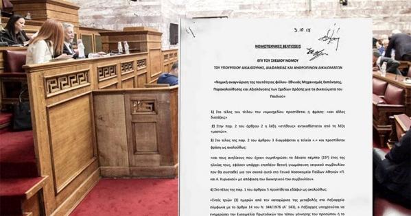 Βουλή των Ελλήνων : .Ζητάμε την απόσυρση του νομοσχεδίου για την αλλαγή φύλου στα 15χρονα