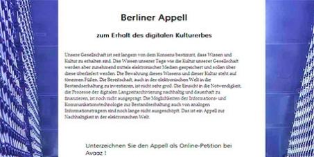 Berliner Appell  zur Nachhaltigkeit in der Digitalen Welt