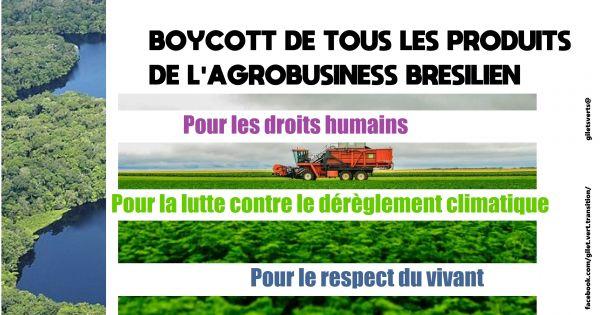 APPEL - Boycott de tous les produits de l'agrobusiness brésilien
