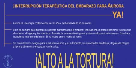 ¡Exigimos la interrupción terapéutica del embarazo para Aurora!