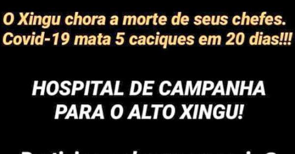 Precisamos de 1 milhão de amigos para construção de um hospital de campanha no Alto Xingu