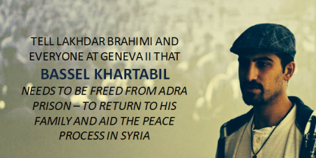 Lakhdar Brahimi, UN & Arab League Envoy to Syria: Free Bassel Khartabil, the man who opened the Internet in Syria
