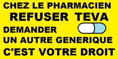 A tous les pharmaciens: Pour la suspension de la commercialisation des médicaments génériques TEVA