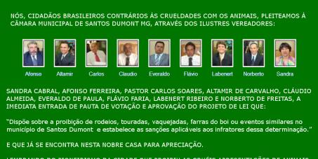 Proibição de rodeios, touradas, vaquejadas, farras do boi ou eventos similares no município de Santos Dumont