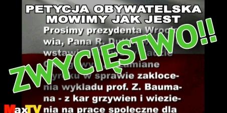 Do prezydenta Wroclawia R. Dutkiewicza: o zamianę kar więzienia na prace społeczne dla skazanych w sprawie Baumana