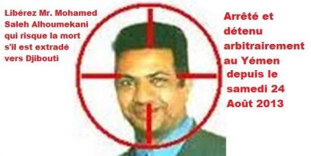 Libérez Mr. Mohamed Saleh Alhoumekani qui risque la mort s'il est extradé vers Djibouti