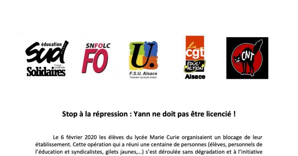 Stop à la répression : Yann ne doit pas être licencié !