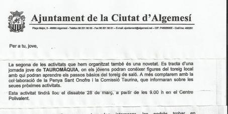 Regidor de joventut de l' Ajuntament d' Algemesí,  Adrià Palmero López: Deixeu de promocionar i ensenyar pràctiques criminals amb els bous