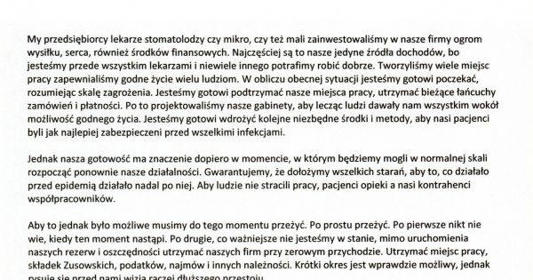 Podpis pod petycją SLSP w sprawie Tarczy Antykryzysowej dla stomatologii