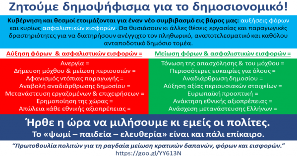 Ζητούμε δημοψήφισμα για το δημοσιονομικό