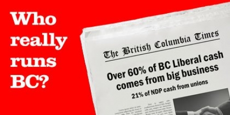 Help ban corporate and union donations to BC's political parties and cap individual donations
