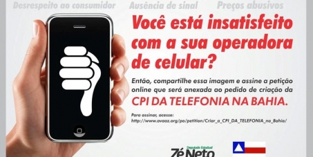Criar a CPI DA TELEFONIA na Bahia