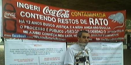 Providências da Coca Cola por ingestão da bebida com restos de rato.