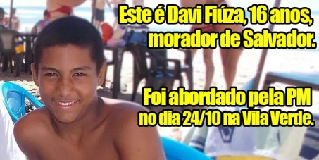 Secretaria de Segurança Pública do Estado da Bahia: Queremos justiça no caso do adolescente Davi Fiúza.
