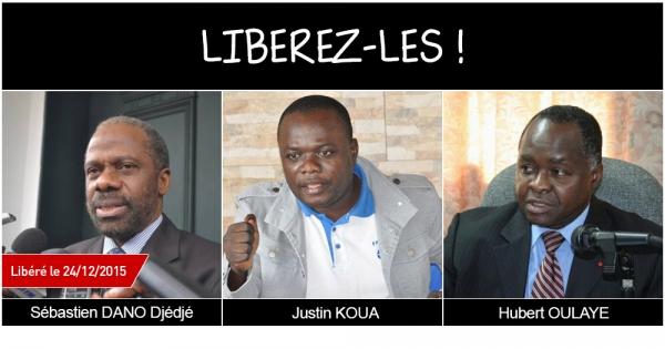Libérez Sébastien Dano Djédjé, Justin Koua et Hubert Oulaye