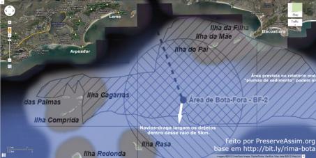 Dejetos da dragagem da Baía de Guanabara (Bota-Fora) longe da costa
