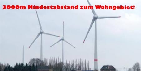 Niederösterreichische Landesregierung: 3000m Mindestabstand vom Wohngebiet für Windräder!