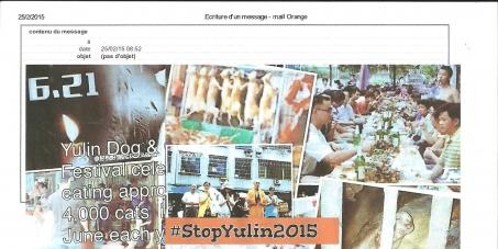 """Au Président de la République populaire de Chine Xi Jinping: l'arrêt du """"festival de la viande de chien"""" de YuLin 2015"""