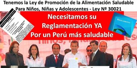 Congreso de la República del Perú: Reglamentar LeyPromociónDeAlimentaciónSaludableParaNiños,NiñasYAdolescentes