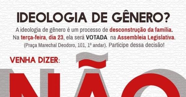 À Assembléia Legislativa do RS: Pela retirada da ideologia de gênero do plano estadual de educação.