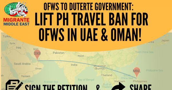 Lift PH Travel Ban for OFWs in UAE & Oman