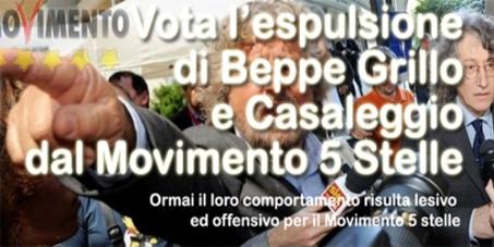Vota l'espulsione di Beppe Grillo e Casaleggio