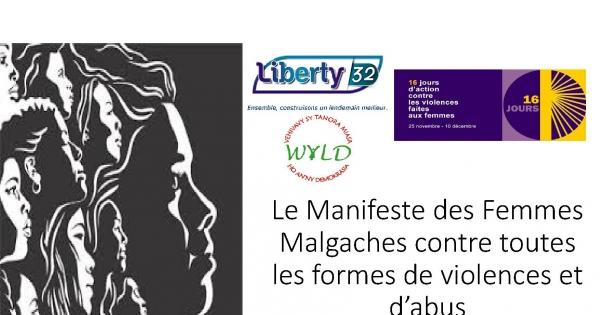 Hommes et Femmes Malgaches: Adhésion au Manifeste des Femmes Malgaches. Egalité des droits.