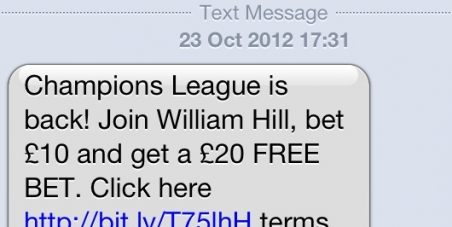 Stop advert text messages from the gambling industry to phones