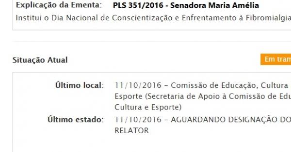 AOS EXMOS RELATORES DA COMISSÃO DE EDUC, CULT E ESPORTES: PELA RÁPIDA TRAMITAÇÃO DO PLS 351/2016-DIA NAC DA FIBROMIALGIA