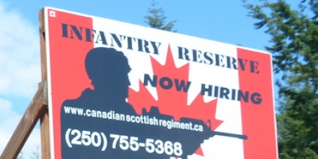 Prime Minister Stephen Harper, Minister of Defense Robert Nicholson: We call on you to take down this recruitment board.