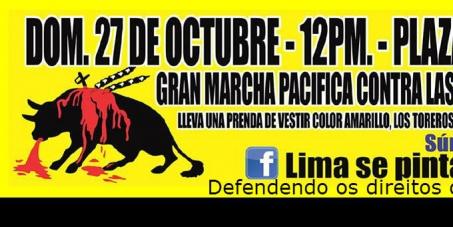 Terminar la muerte de inocentes toros en Lima, Peru.