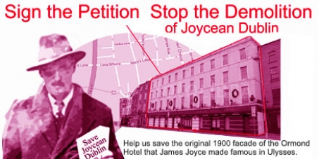 Save James Joyce's literary heritage.Stop the demolition of the Ormond Hotel facade in Dublin.Round 2,2016