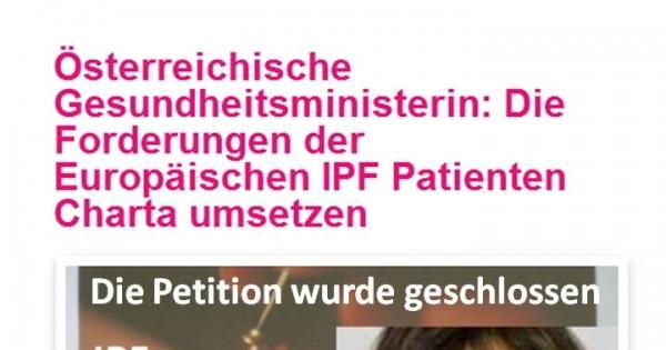 Österreichische Gesundheitsministerin: Die Forderungen der Europäischen IPF Patienten Charta umsetzen