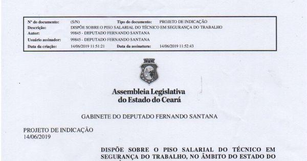 Lei do Piso Salarial do Técnico em Segurança do Trabalho, âmbito Ceará - Apoie, Assine.