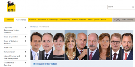 Board of Directors of the giant Italian Eni: Require the compliance of the company's Code of Ethics