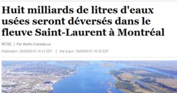 Ville de Montréal: SVP ne déversez pas les eaux usées dans le fleuve, faites autrement.