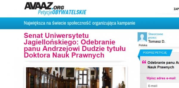"""Avaaz.org: Usunięcia szkalujących dobre imię prezydenta tzw """"petycji"""" z serwisu."""