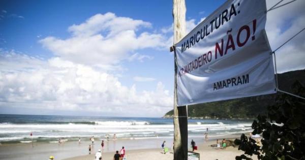 Diga NÃO a Maricultura na praia do Matadeiro.