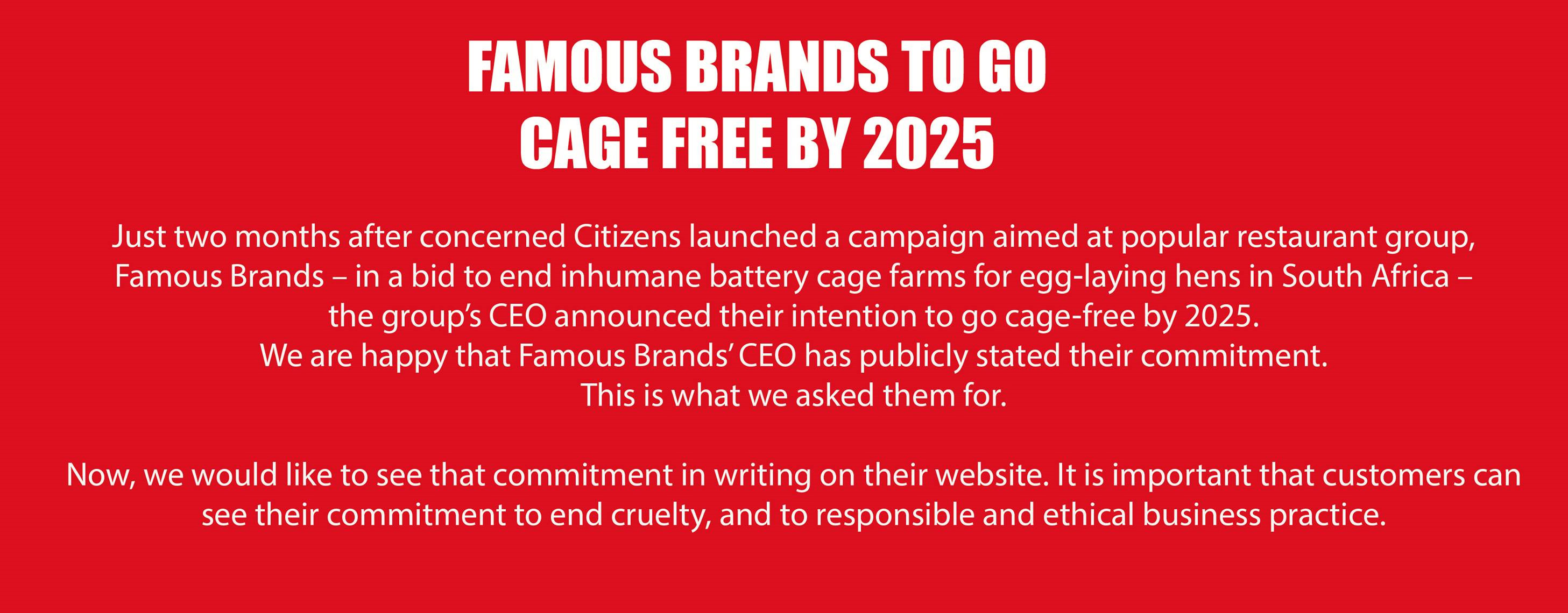 Famous Brands: Serve Us Cage-Free Eggs in your Restaurants: