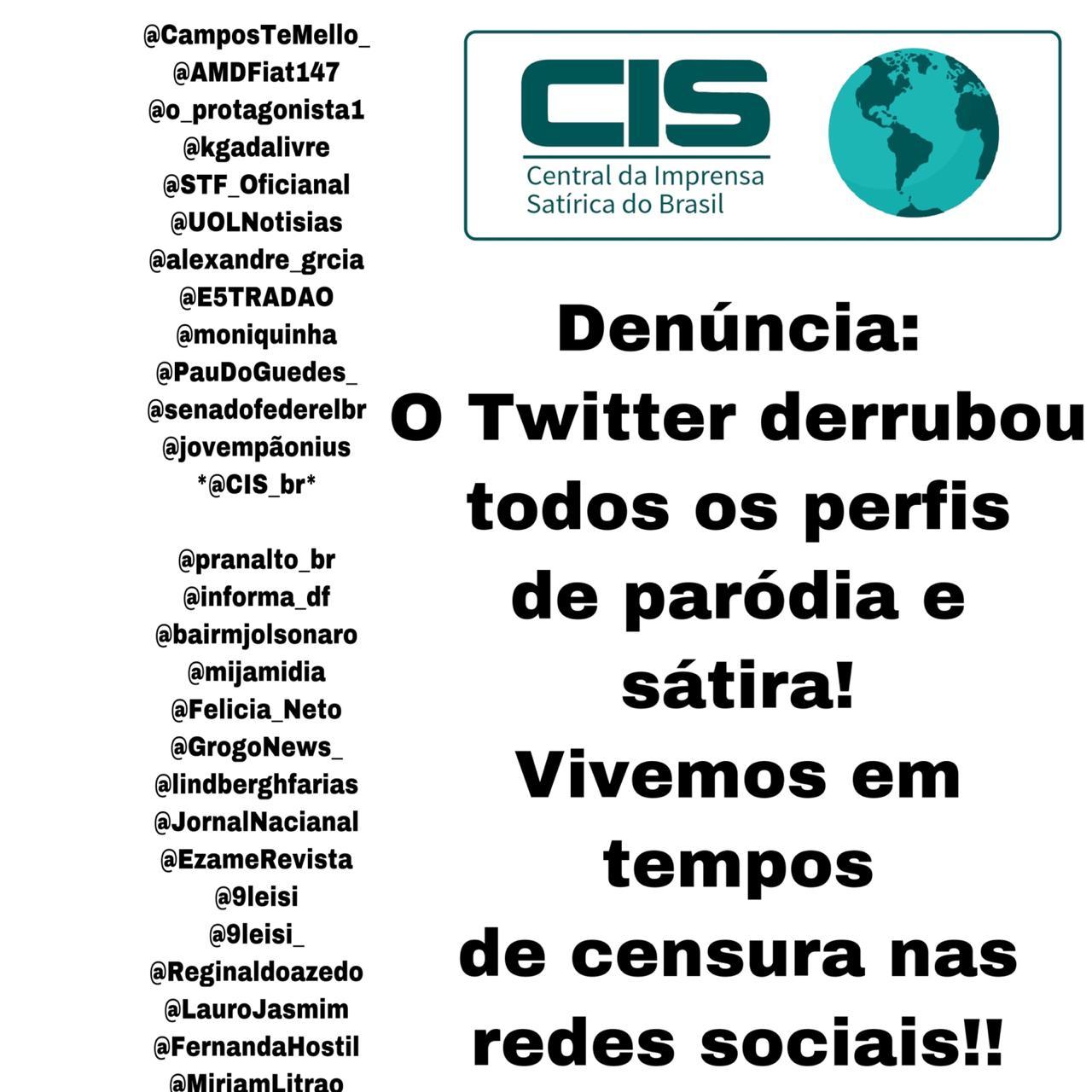 Superior tribunal de justiça: Contra a censura do Twitter a perfis sátiras