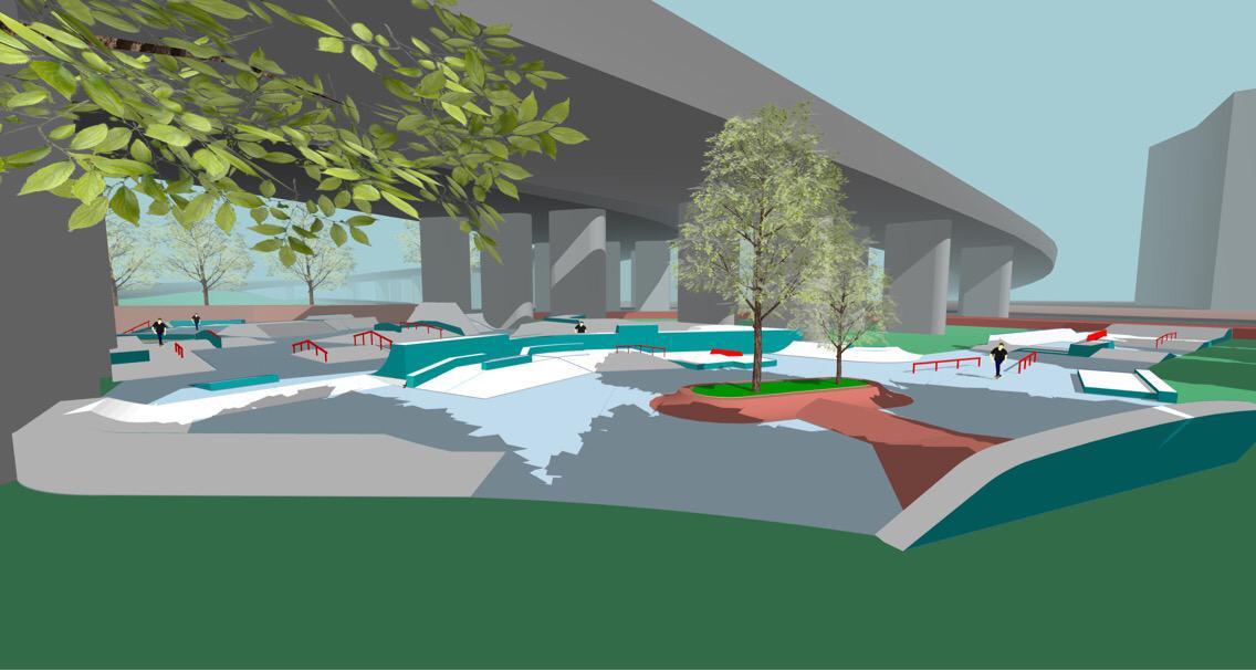Potentiële bezoekers toekomstig buiten Skatepark Arnhem